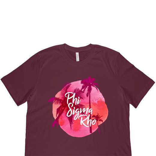 Phi Sigma Rho Tropical Palm Tree Sunset-Maroon