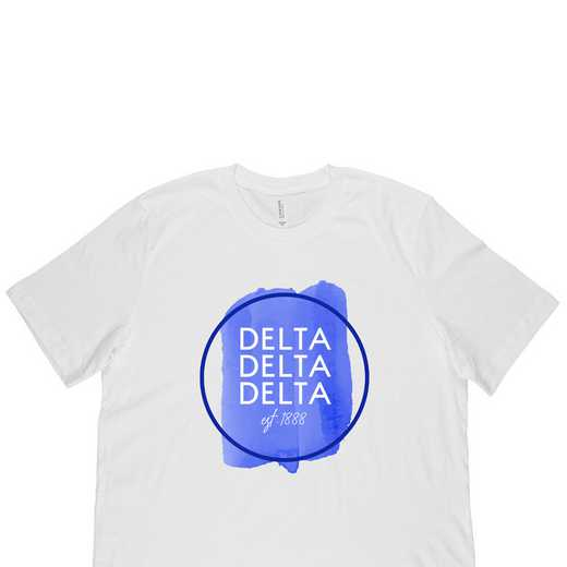 Delta Delta Delta Watercolor Circle-White