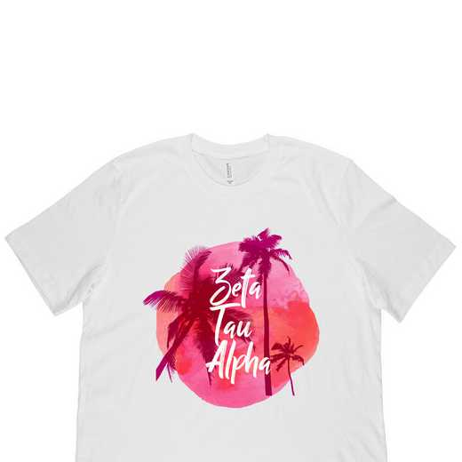Zeta Tau Alpha Tropical Palm Tree Sunset-White