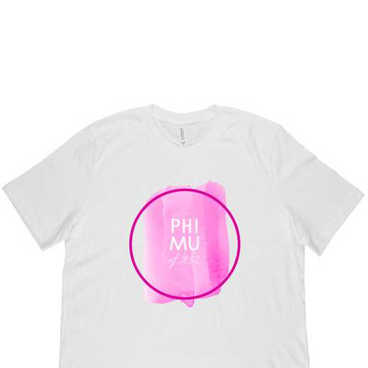 Phi Mu Watercolor Circle-White