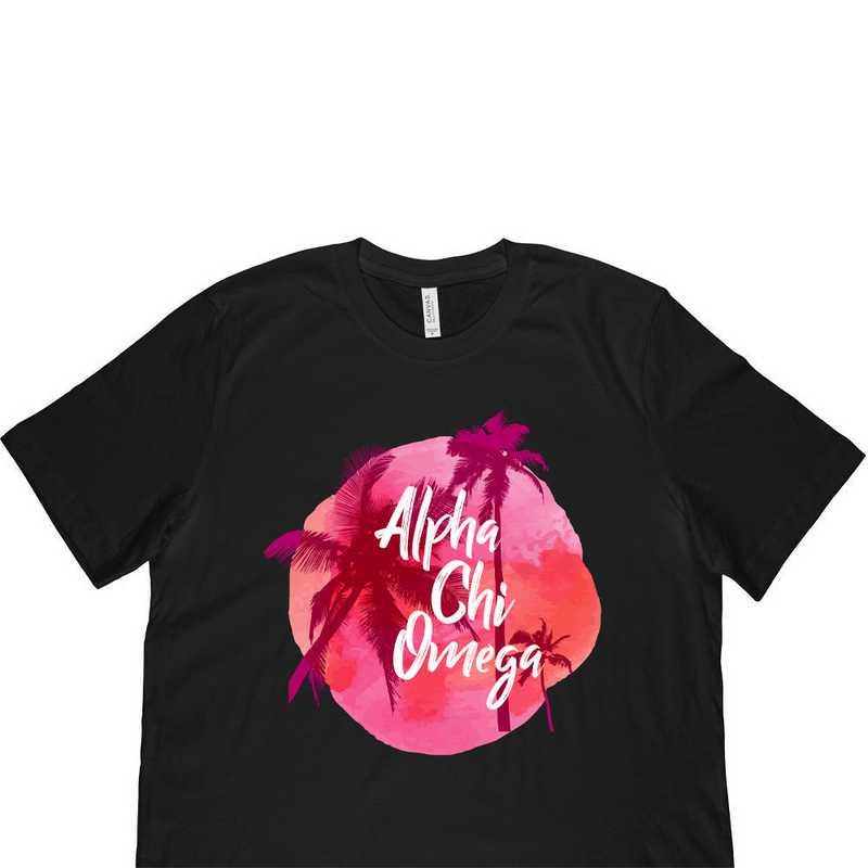 Alpha Chi Omega Tropical Palm Tree Sunset-Black