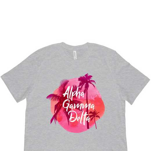Alpha Gamma Delta Tropical Palm Tree Sunset Gray