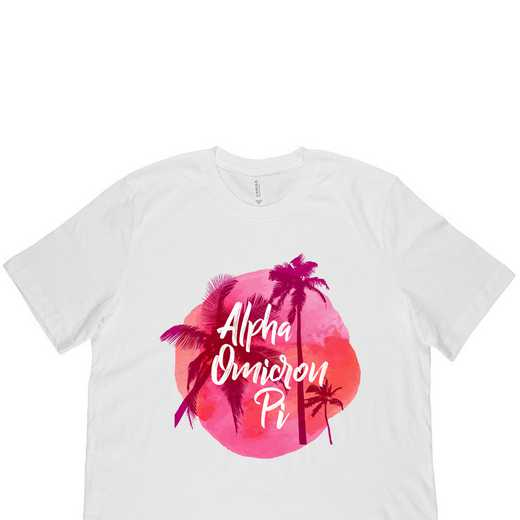 Alpha Omicron Pi Tropical Palm Tree Sunset-White