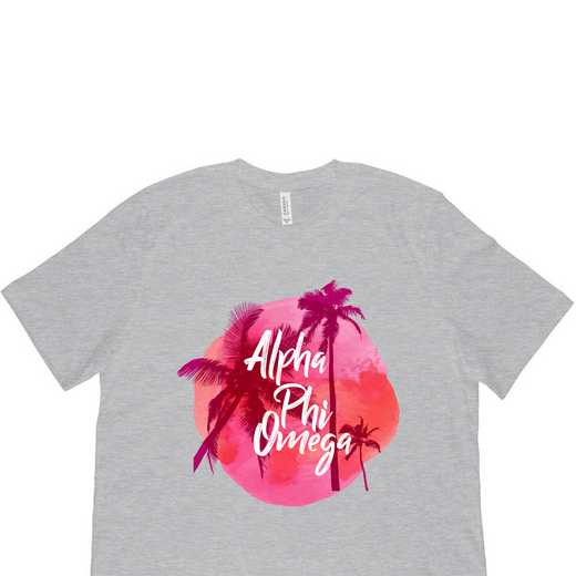 Alpha Phi Omega Tropical Palm Tree Sunset Gray