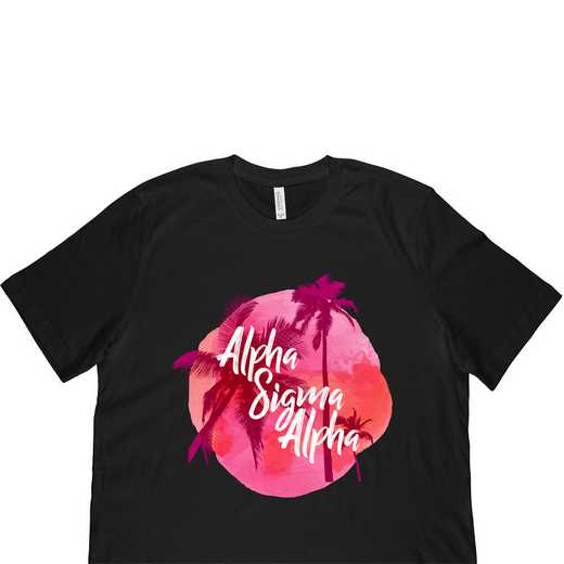 Alpha Sigma Alpha Tropical Palm Tree Sunset-Black
