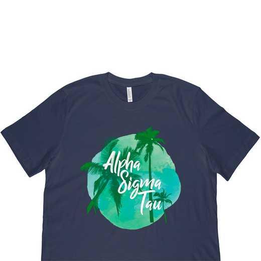 Alpha Sigma Tau Tropical Palm Tree Sunset-Navy