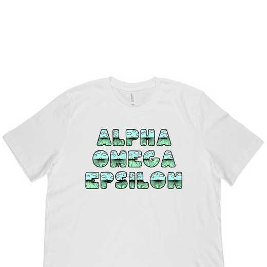Alpha Omega Epsilon Spring Sunrise Bubble Font-White