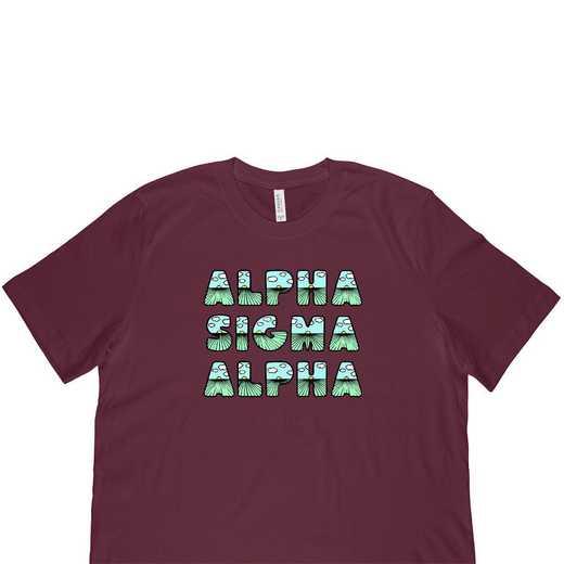 Alpha Sigma Alpha Spring Sunrise Bubble Font-Maroon
