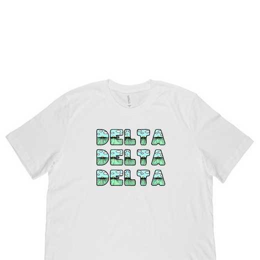Delta Delta Delta Spring Sunrise Bubble Font-White