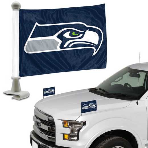ABFNF27: Seattle Seattlehawks Auto Ambassador Flag Pair