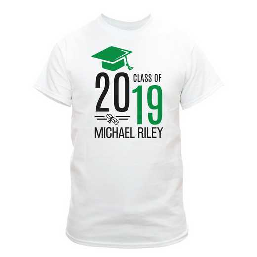 5a5cd333 Personalized Graduate Hat With Diploma White T-Shirt Small Green