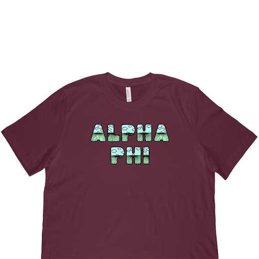 Alpha Phi  Spring Sunrise Bubble Font-Maroon