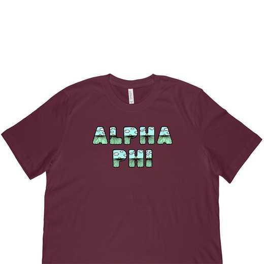 Alpha Phi  Spring Sunrise Bubble Font-Maroon