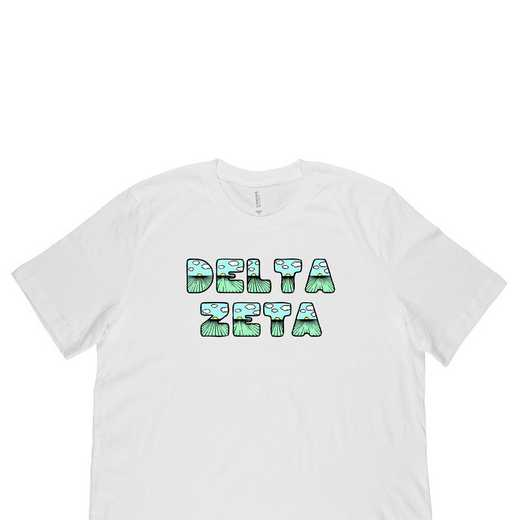Delta Zeta  Spring Sunrise Bubble Font-White