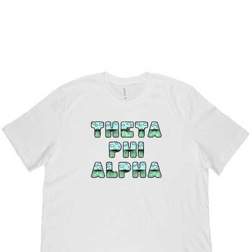 Theta Phi Alpha Spring Sunrise Bubble Font-White