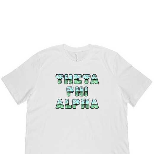 Theta Phi Alpha Spring Sunrise Bubble Font-White