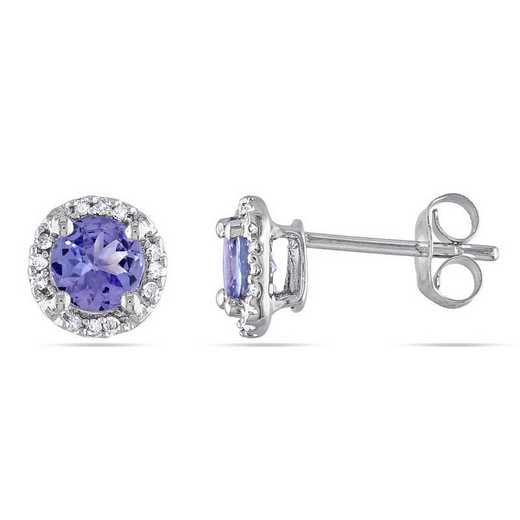 BAL000855: Tanzanite / DMND Halo Stud EAR / 10k WG