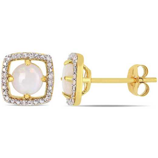 BAL000795: Opal / DMND Float/g Halo Square Stud EAR / 10k YG