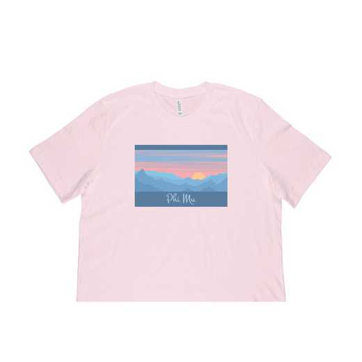 Phi Mu Mountain Scene T-Shirt-Pink